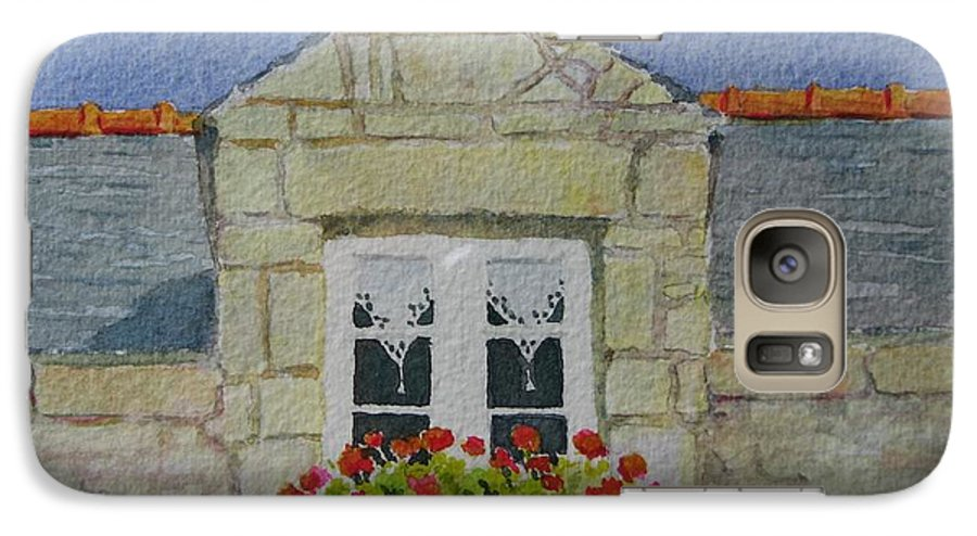 France Galaxy S7 Case featuring the painting Bretagne Window by Mary Ellen Mueller Legault