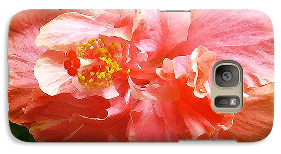 Hibiscus Galaxy S7 Case featuring the digital art Bright Pink Hibiscus by James Temple