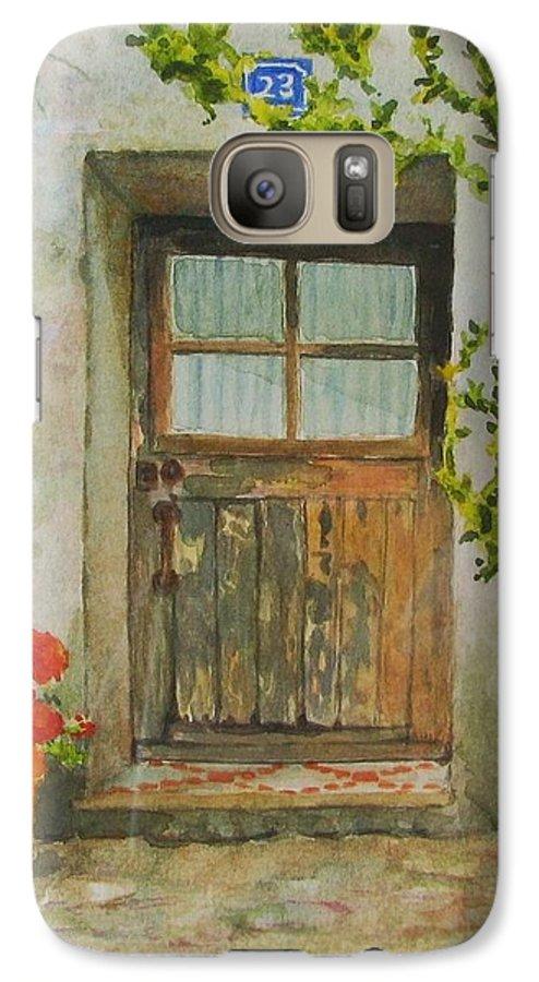 Door Galaxy S7 Case featuring the painting Brittany Door by Mary Ellen Mueller Legault