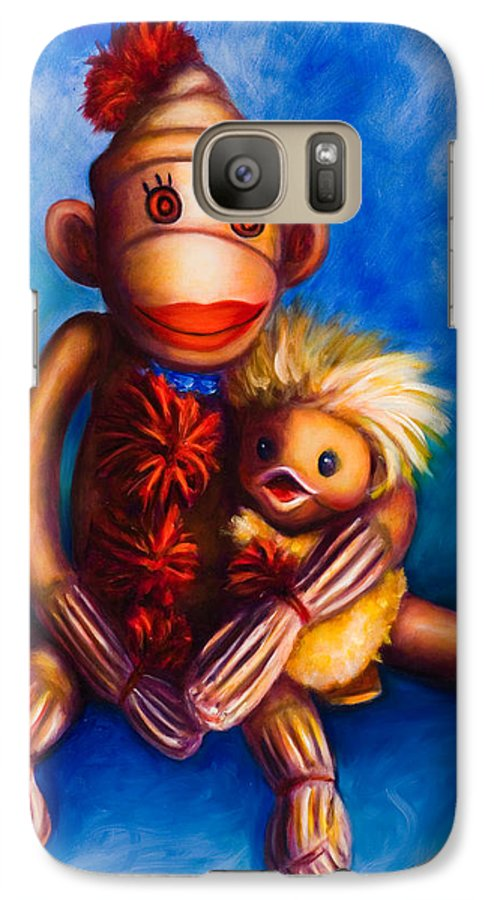 Sock Monkeys Brown Galaxy S7 Case featuring the painting Buddies by Shannon Grissom