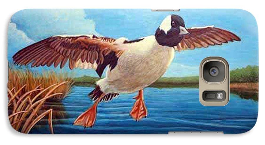 Rick Huotari Galaxy S7 Case featuring the painting Buffelhead Duck by Rick Huotari