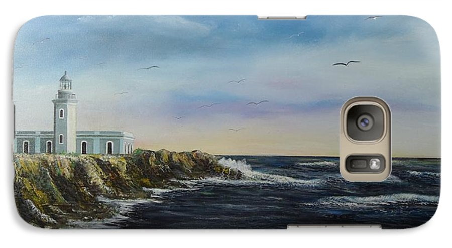 Cabo Rojo Lighthouse Galaxy S7 Case featuring the painting Cabo Rojo Lighthouse by Tony Rodriguez