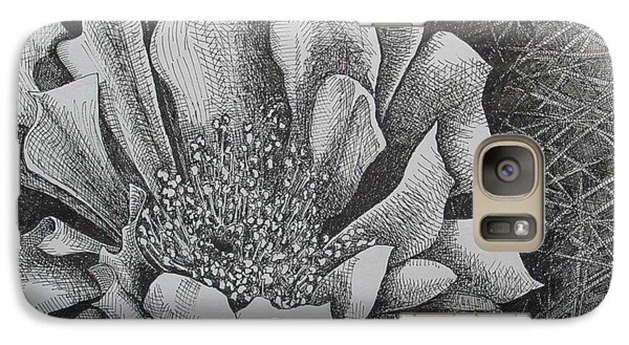 Flowers Galaxy S7 Case featuring the drawing Cactus Flower by Denis Gloudeman