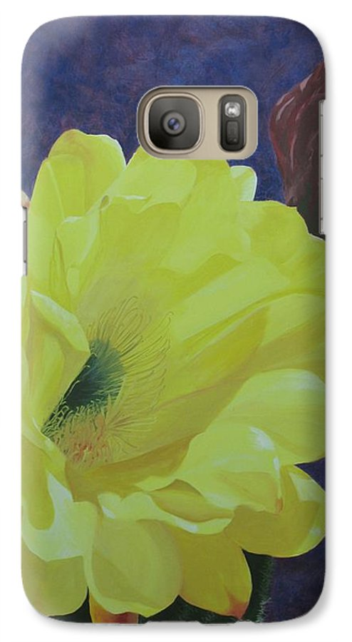 Argentine Cactus Bloom Galaxy S7 Case featuring the painting Cactus Morning by Janis Mock-Jones