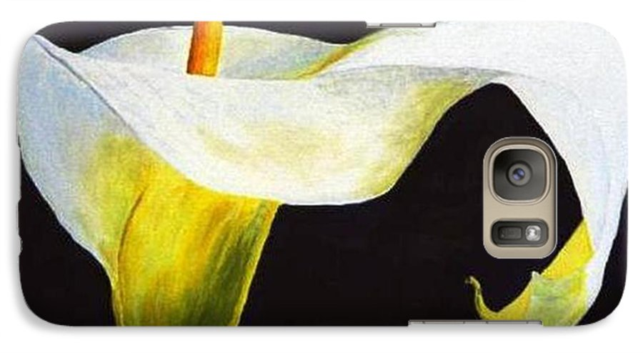 Close-up Galaxy S7 Case featuring the painting Calla Lily by Bruce Combs - REACH BEYOND