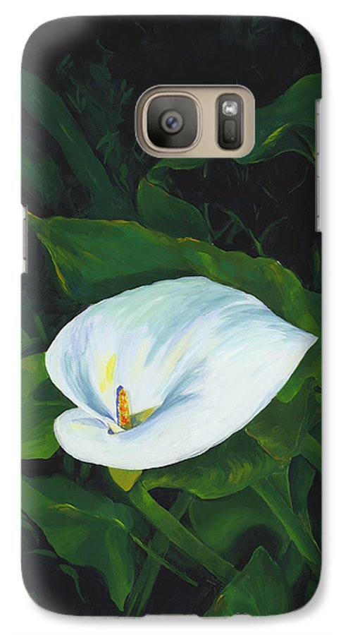 Calla Lily Galaxy S7 Case featuring the painting Calla Lily In The Garden Of Diego And Frida by Judy Swerlick