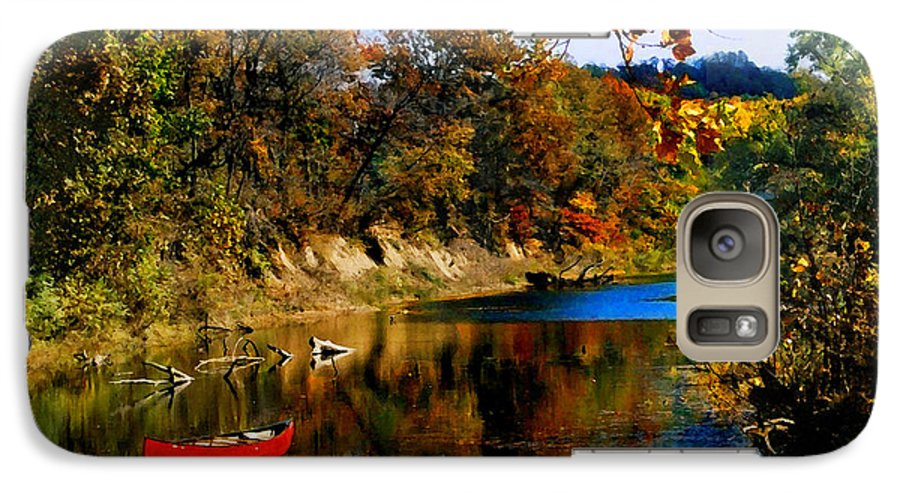 Autumn Galaxy S7 Case featuring the photograph Canoe On The Gasconade River by Steve Karol