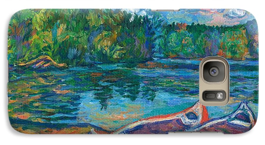 Landscape Galaxy S7 Case featuring the painting Canoes At Mountain Lake Sketch by Kendall Kessler