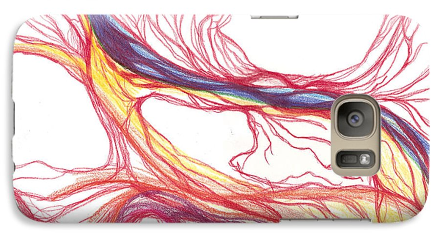 Capillaries Galaxy S7 Case featuring the drawing Capillaries by Lindsay Clark
