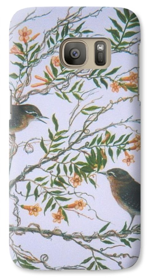 Bird; Flowers Galaxy S7 Case featuring the painting Carolina Wren And Jasmine by Ben Kiger