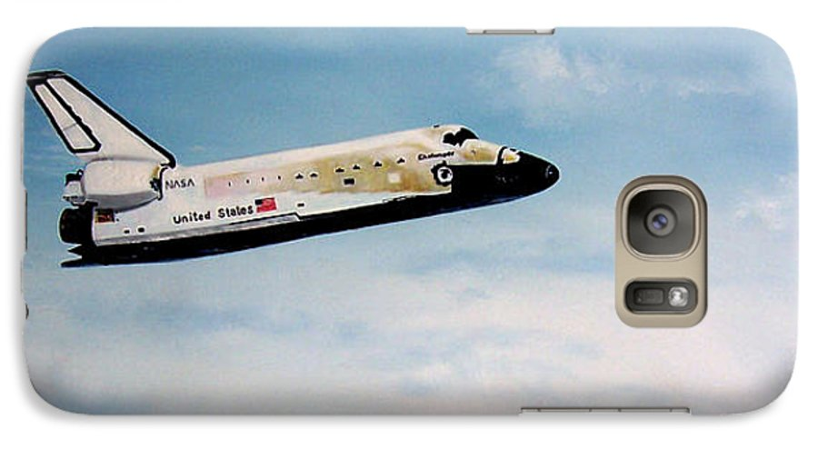 Shuttle Galaxy S7 Case featuring the painting Challenger by Murphy Elliott