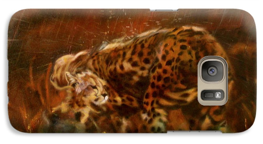 Rain;water;cats;africa;wildlife;animals;mother;shelter;brush;bush Galaxy S7 Case featuring the painting Cheetah Family After The Rains by Sean Connolly