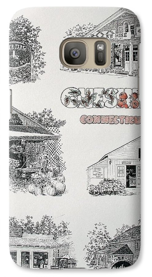 Connecticut Chechire Ct Architecture Buildings New England Galaxy S7 Case featuring the painting Cheshire Landmarks by Tony Ruggiero