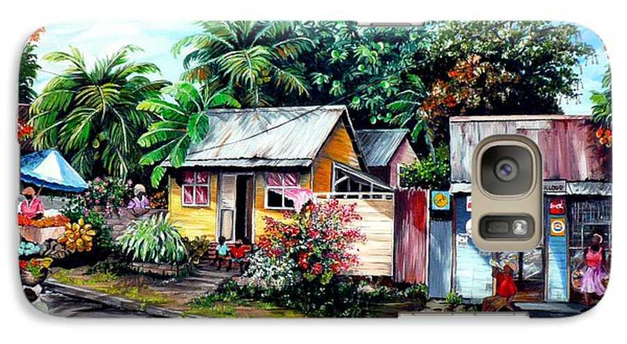 Landscape Painting Caribbean Painting Shop Trinidad Tobago Poinciana Painting Market Caribbean Market Painting Tropical Painting Galaxy S7 Case featuring the painting Chins Parlour   by Karin Dawn Kelshall- Best