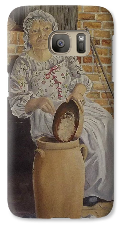Historic Galaxy S7 Case featuring the painting Churning Butter by Wanda Dansereau