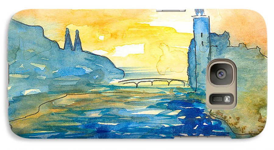Landscape Galaxy S7 Case featuring the painting City Hall Stockholm by Christina Rahm Galanis