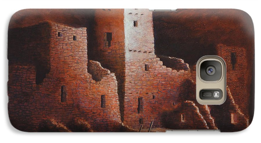 Anasazi Galaxy S7 Case featuring the painting Cliff Palace by Jerry McElroy