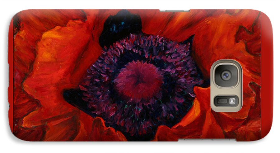 Red Poppy Galaxy S7 Case featuring the painting Close Up Poppy by Billie Colson