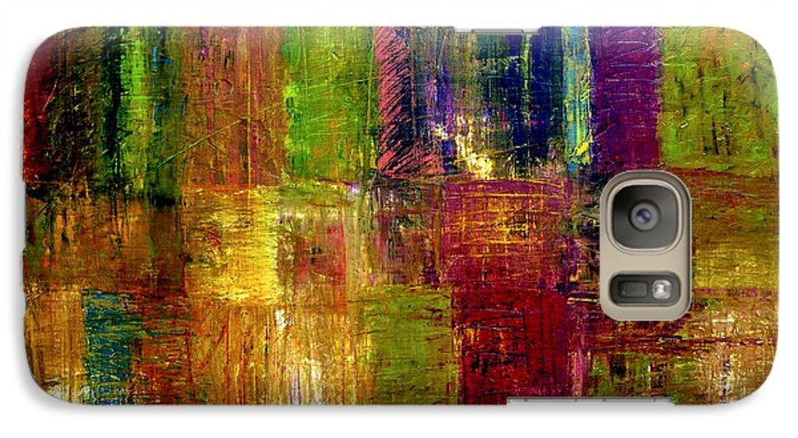 Abstract Galaxy S7 Case featuring the painting Color Panel Abstract by Michelle Calkins