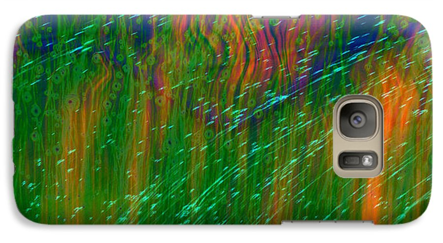 Abstract Galaxy S7 Case featuring the digital art Colors Of Grass by Linda Sannuti