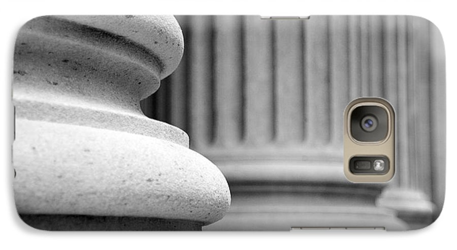 Black & White Galaxy S7 Case featuring the photograph Columns by Tony Cordoza
