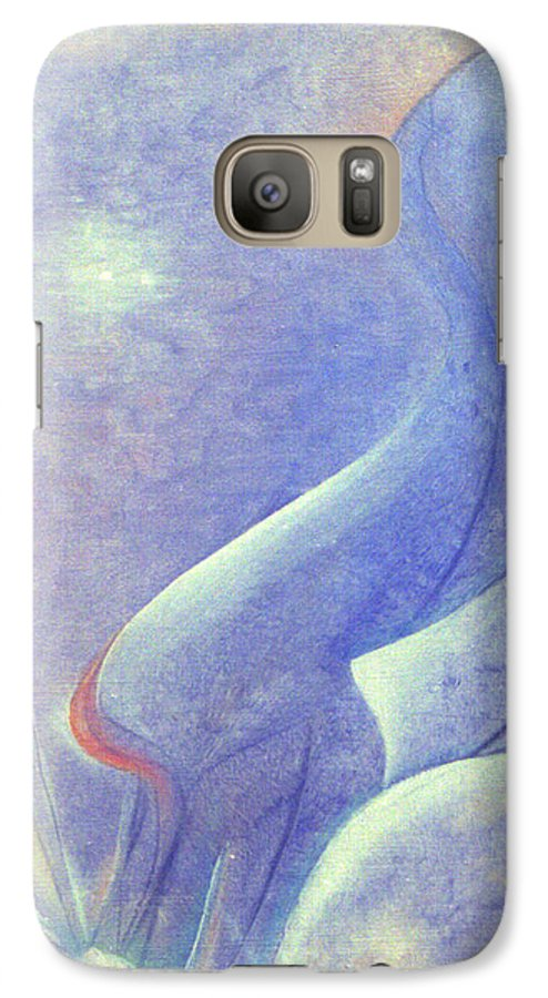 Blue Galaxy S7 Case featuring the painting Comfort by Christina Rahm Galanis