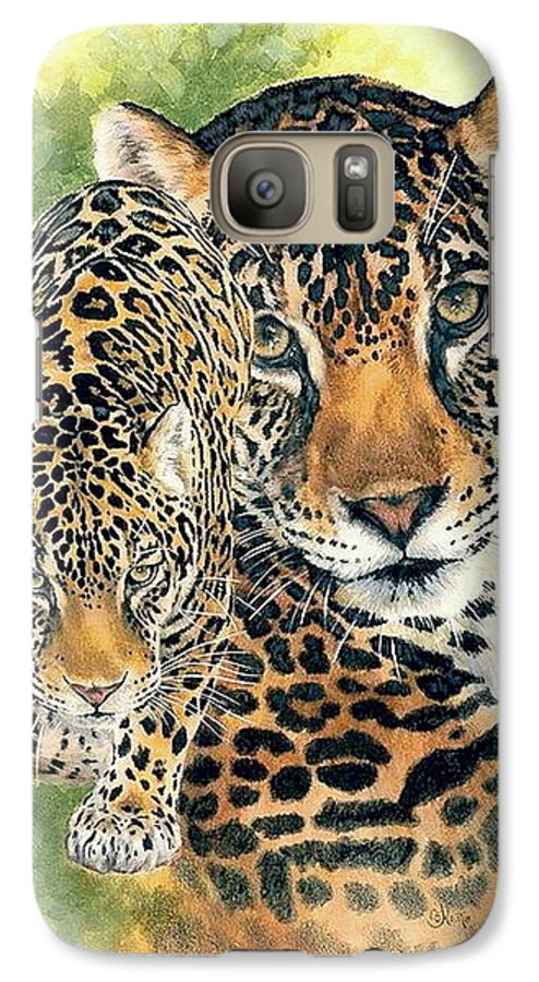 Jaguar Galaxy S7 Case featuring the mixed media Compelling by Barbara Keith