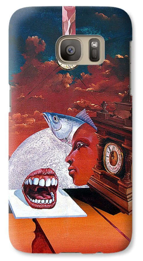 Otto+rapp Surrealism Surreal Fantasy Time Clocks Watch Consumption Galaxy S7 Case featuring the painting Consumption Of Time by Otto Rapp