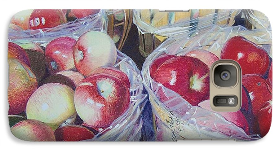 Apple Galaxy S7 Case featuring the mixed media Cortland Apples by Constance Drescher