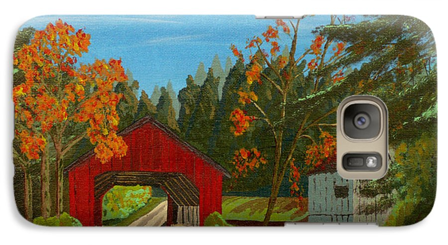 Path Galaxy S7 Case featuring the painting Covered Bridge by Anthony Dunphy