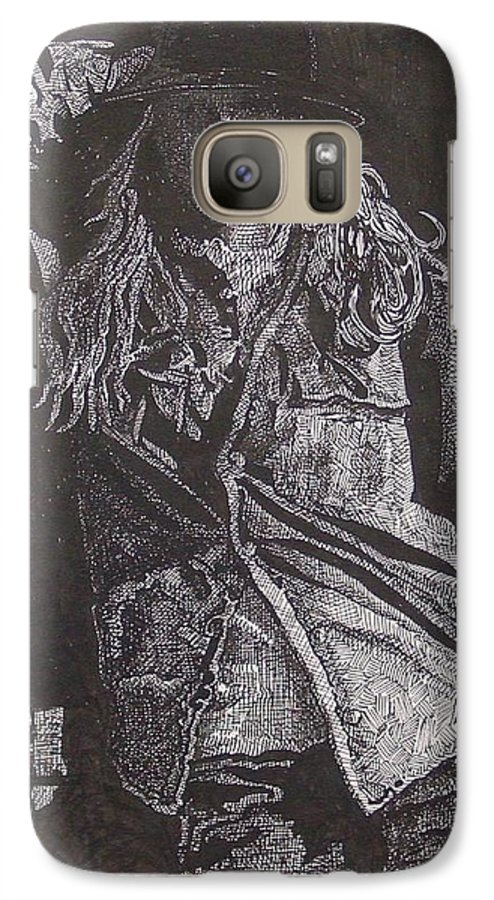 Figurative Galaxy S7 Case featuring the drawing Cowgirl by Denis Gloudeman