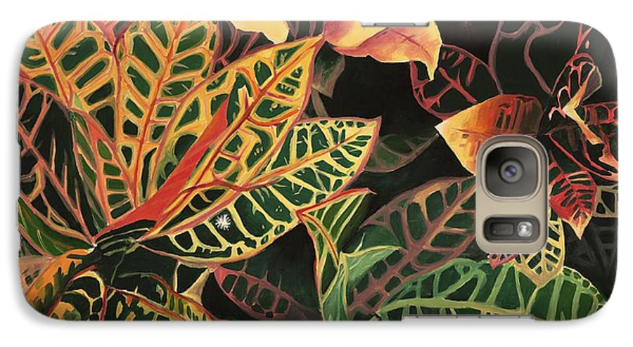 Croton Leaves Galaxy S7 Case featuring the painting Croton Leaves by Judy Swerlick