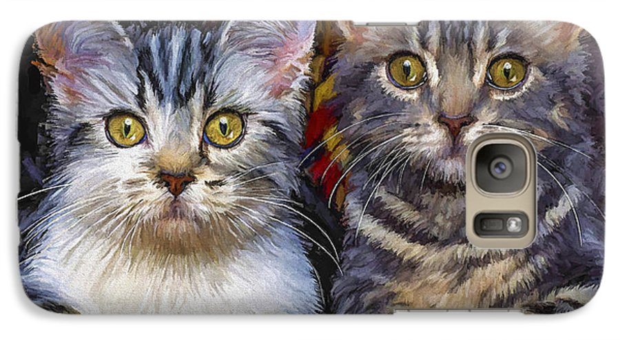 Cat Galaxy S7 Case featuring the painting Curious Kitties by David Wagner