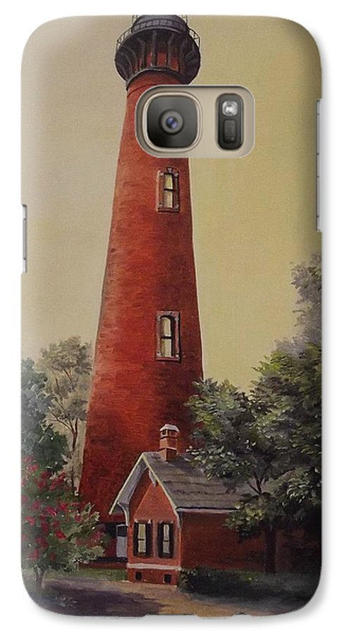 Lighthouse Galaxy S7 Case featuring the painting Currituck Lighthouse by Wanda Dansereau