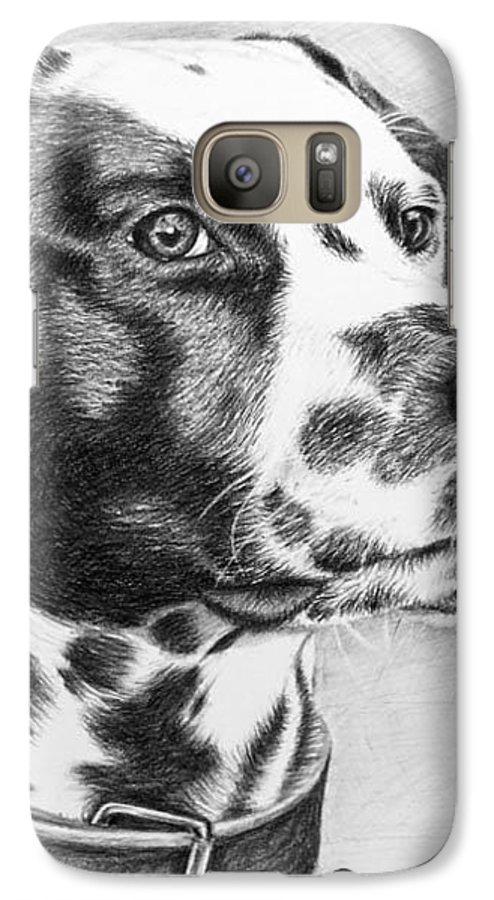 Dog Galaxy S7 Case featuring the drawing Dalmatian Portrait by Nicole Zeug