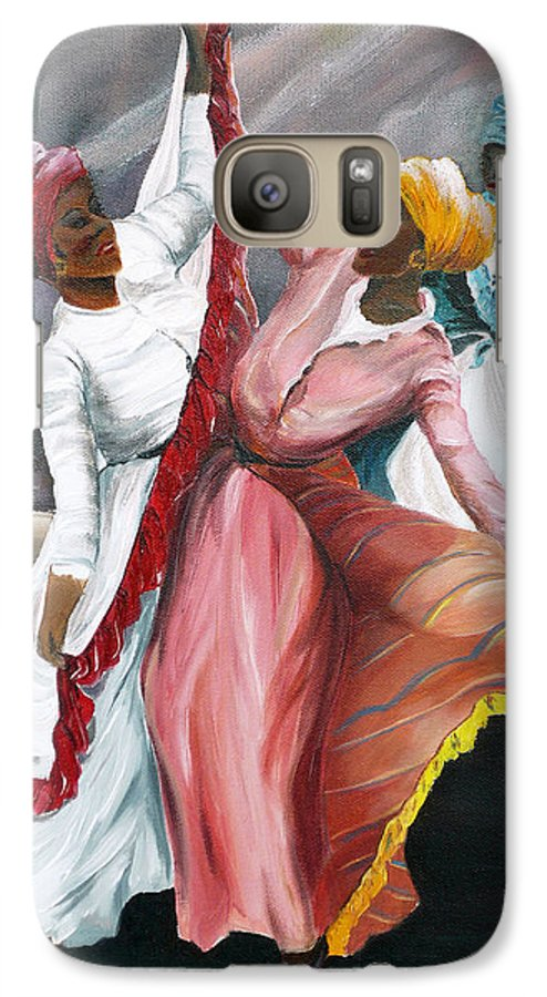 Dancers Folk Caribbean Women Painting Dance Painting Tropical Dance Painting Galaxy S7 Case featuring the painting Dance The Pique 2 by Karin Dawn Kelshall- Best