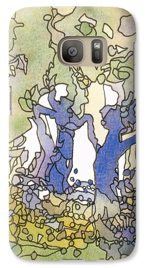 Abstract Galaxy S7 Case featuring the painting Dancing Trees by Christina Rahm Galanis