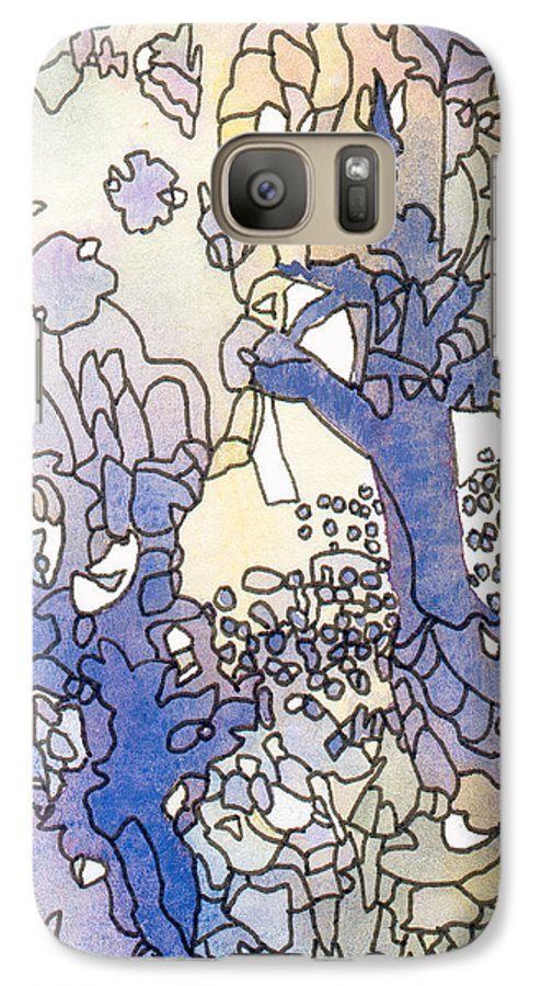 Abstract Galaxy S7 Case featuring the painting Dancing Trees II by Christina Rahm Galanis