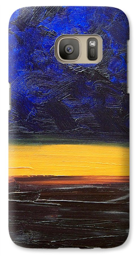Landscape Galaxy S7 Case featuring the painting Desert Plains by Sergey Bezhinets