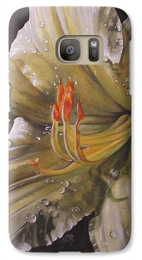 Daylily Galaxy S7 Case featuring the painting Diamonds by Barbara Keith