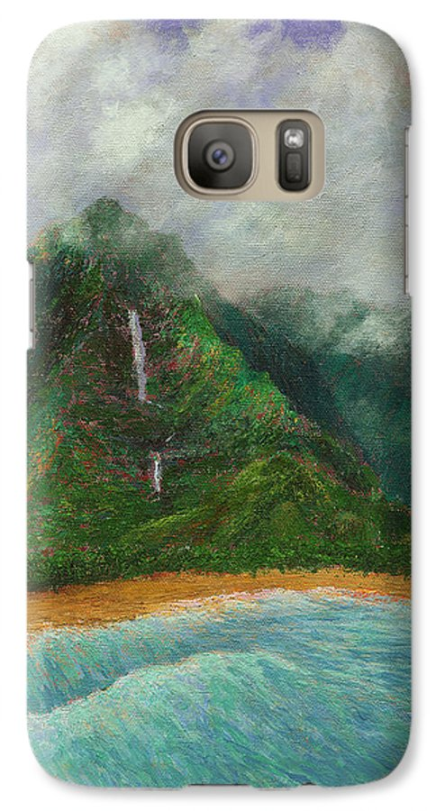 Coastal Decor Galaxy S7 Case featuring the painting Distant Falls by Kenneth Grzesik