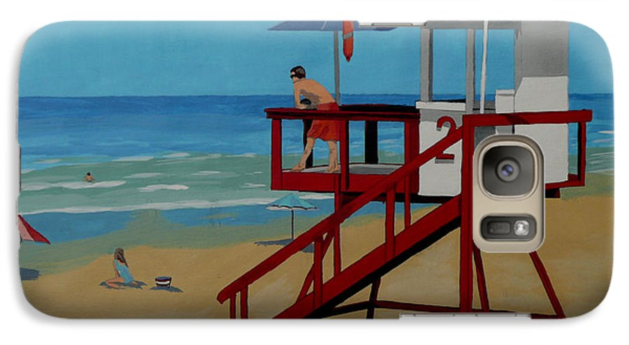 Lifeguard Galaxy S7 Case featuring the painting Distracted Lifeguard by Anthony Dunphy