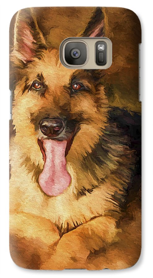 German Shepherd Galaxy S7 Case featuring the painting Duke by David Wagner