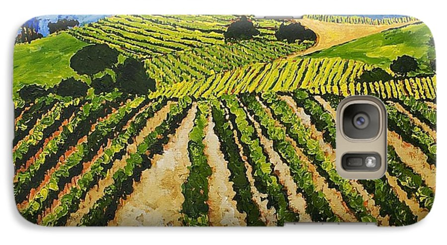 Landscape Galaxy S7 Case featuring the painting Early Crop by Allan P Friedlander