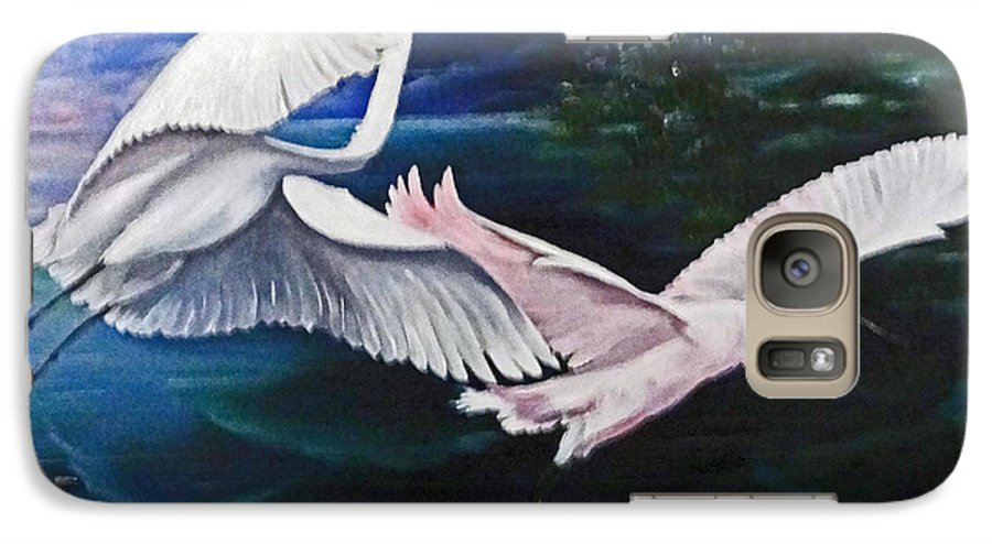 Snowy Egrets Galaxy S7 Case featuring the painting Early Flight by Karin Dawn Kelshall- Best