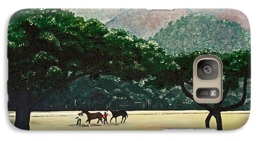 Trees Galaxy S7 Case featuring the painting Early Morning Savannah by Karin Dawn Kelshall- Best