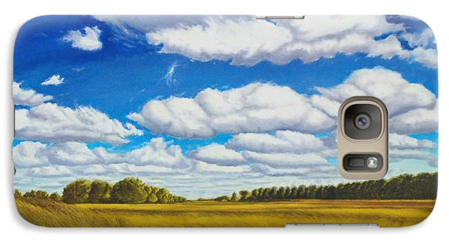 Wheat Galaxy S7 Case featuring the painting Early Summer Clouds by Leonard Heid