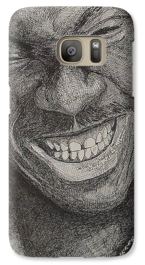Portraiture Galaxy S7 Case featuring the drawing Eddie by Denis Gloudeman