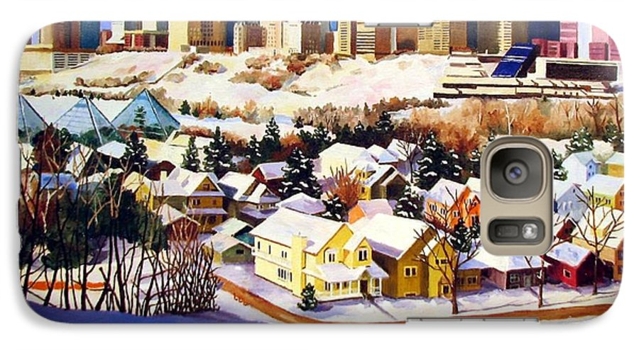 Urbanscape Galaxy S7 Case featuring the painting Edmonton In Winter by Nel Kwiatkowska