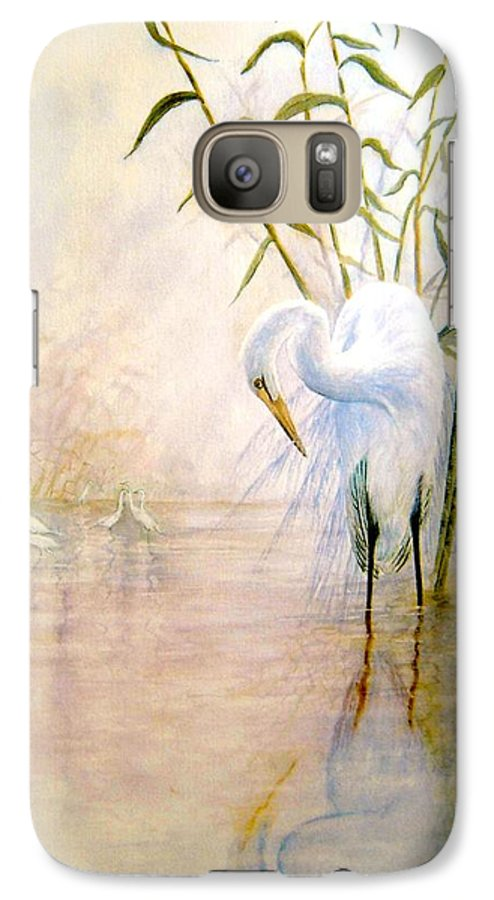 Eret; Bird; Low Country Galaxy S7 Case featuring the painting Egret by Ben Kiger